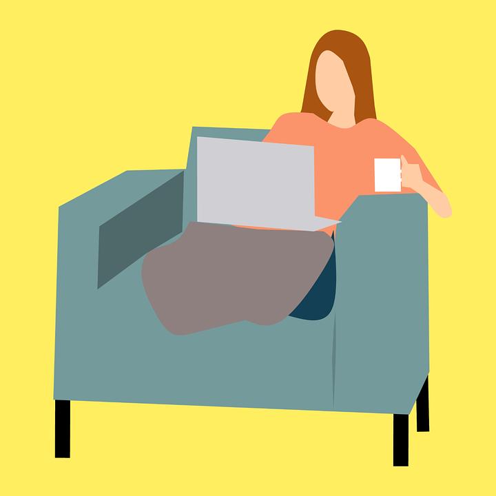 Laptop, Comfortabele, Concept, Contemplatie