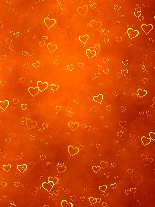 free illustration  background  orange  hearts  gold