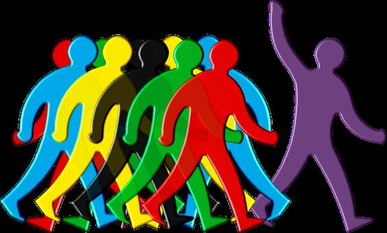 リーダー, 群衆, 目立つ, グループ, 人事, スタッフ, 従業員, 募集