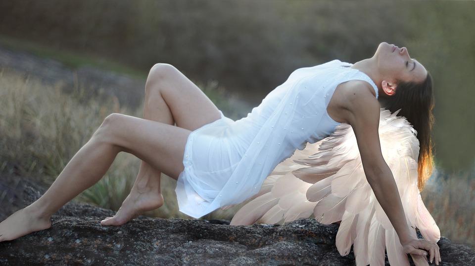 天使, 女性, ホワイト, 女の子, 若いです, モデル, 天, 翼, ファンタジー, 妖精, 羽, 宗教