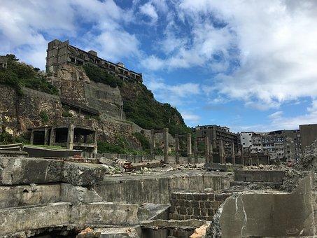 戦艦島, 羽島, 長崎, 放棄された, ゴーストタウン, 瓦礫, 世界遺産