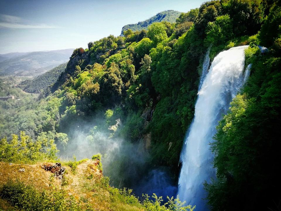 Cascata, Marmore, Acqua, Gocce, Verde, Panorama
