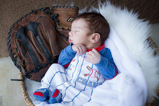 Newborn, Baseball, Glove, Adorable