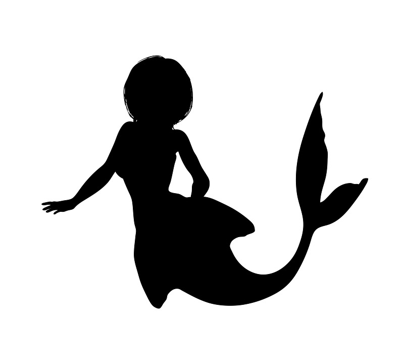 mermaid silhouette fantasy girl tail fish nature