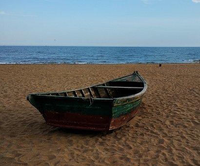 Sandy Beach Boat Sea Summer Travel