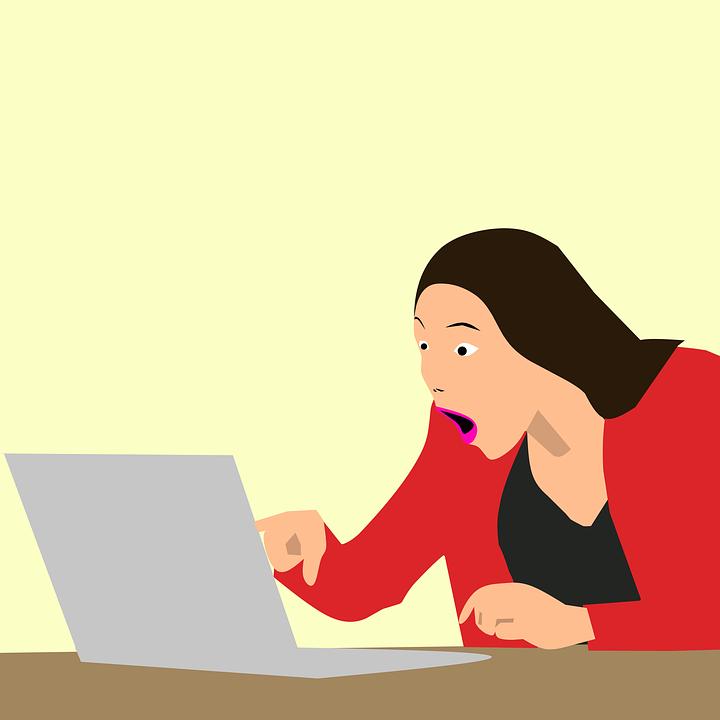 恍惚としました, 驚き, コンピュータ, 興奮, 機会, ショック, 女性, 畏敬の念, オフィス