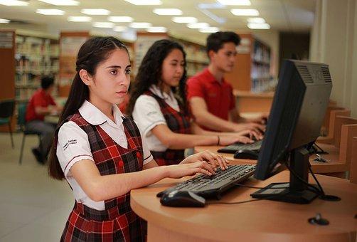学生, 女性, 幸せ, 女の子, 若いです, 大学, 教育, 人, 学校, 口