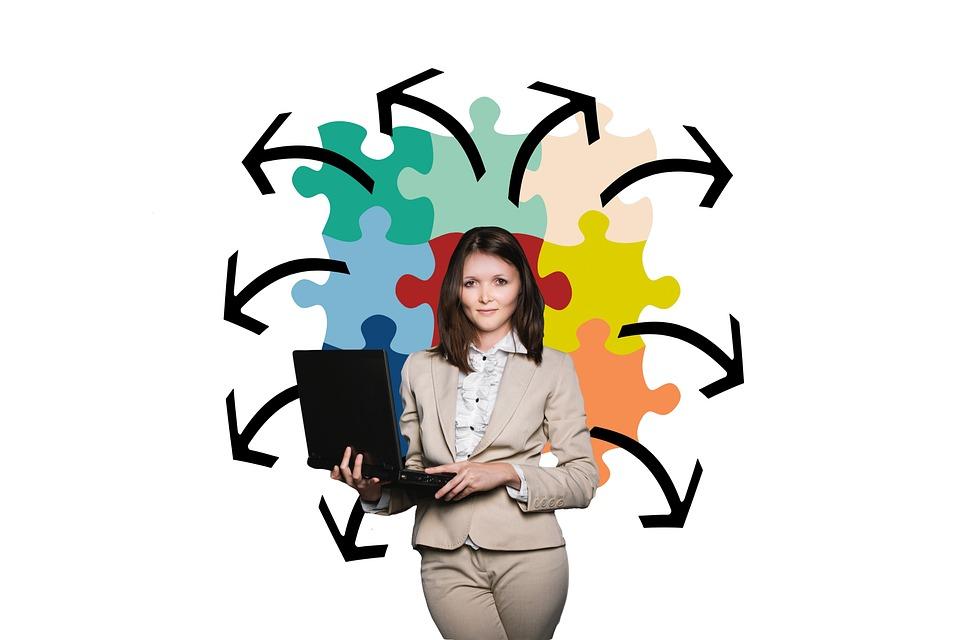 Empresária, Negócios, Puzzle, Organização, Treinador