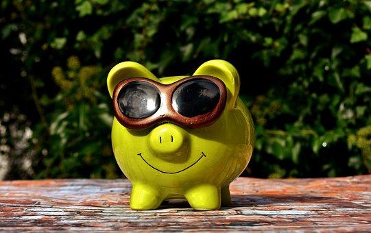 ラッキー豚, クール, サングラス, 貯金箱, おかしい, 保存し, お金