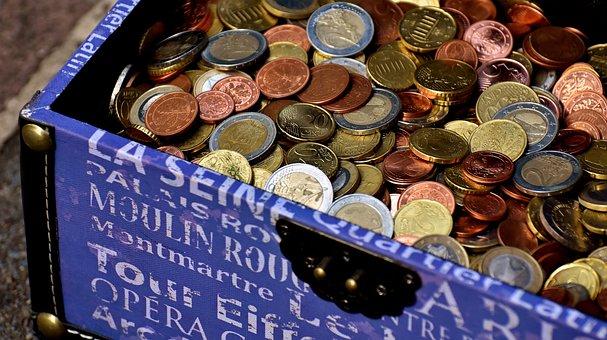 Münzen, Münzgeld, Truhe, Euro, Cent