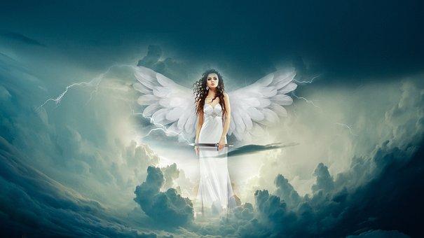 Angel, Clouds, Fantasy, Heaven, Sky