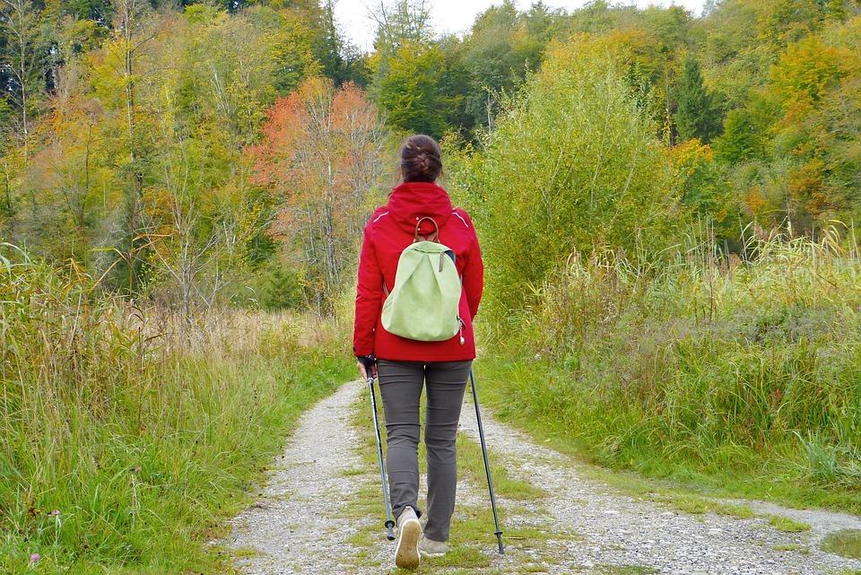 Frau, Mädchen, Walken, Spazierengehen, Rucksack