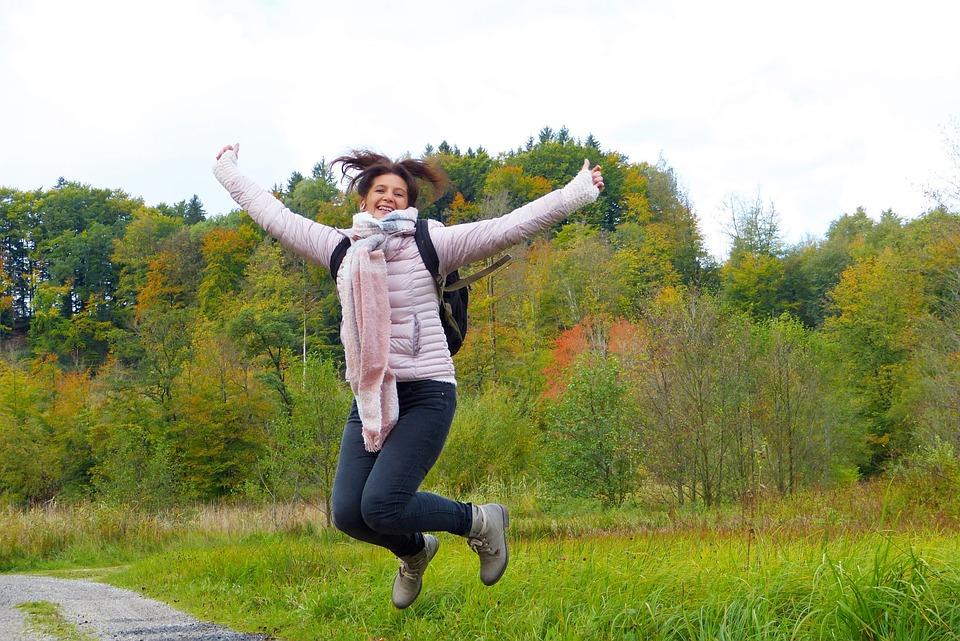 Woman, Jump, Hop, Air Jump, Away, Nature, Forest
