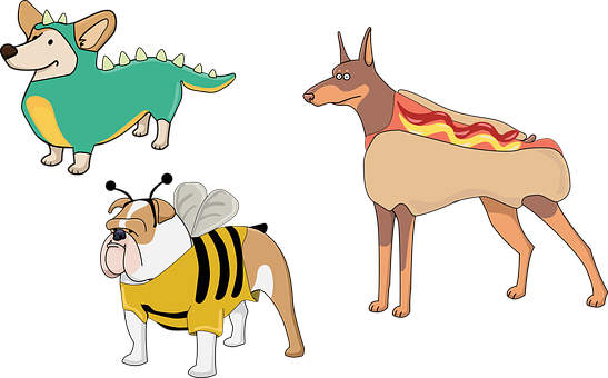 Dog, Puppies, Costume, Dinosaur, Hot Dog