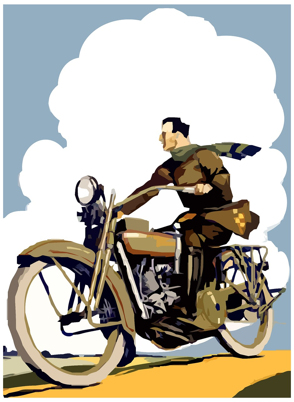 Ретро мотоцикл постер