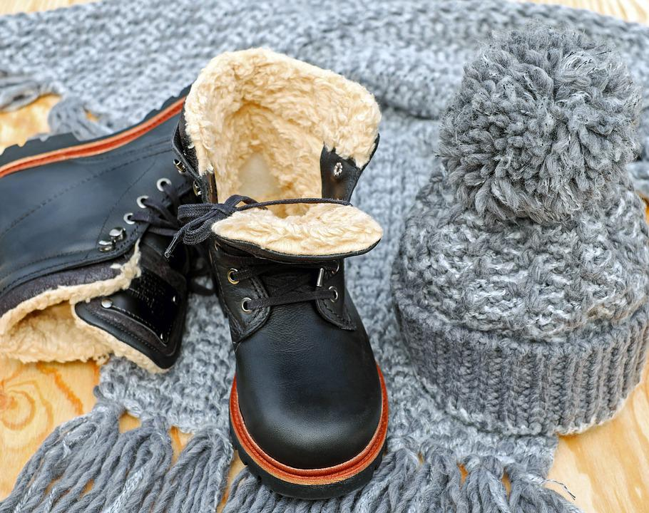 winter clothes: hat, boots, gloves