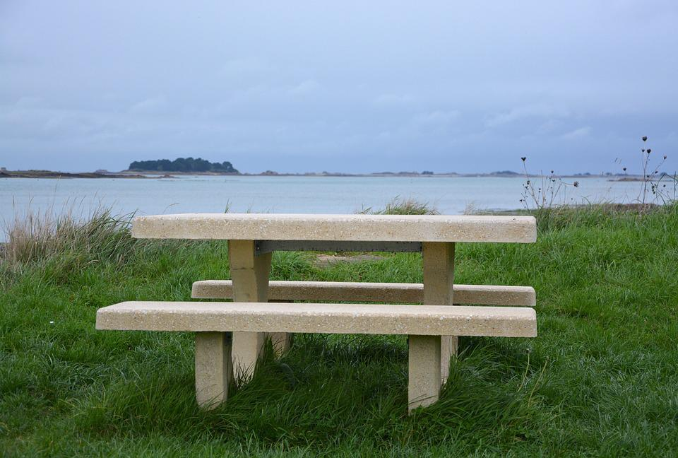 Table Bench Stone Table Picnic Sea View