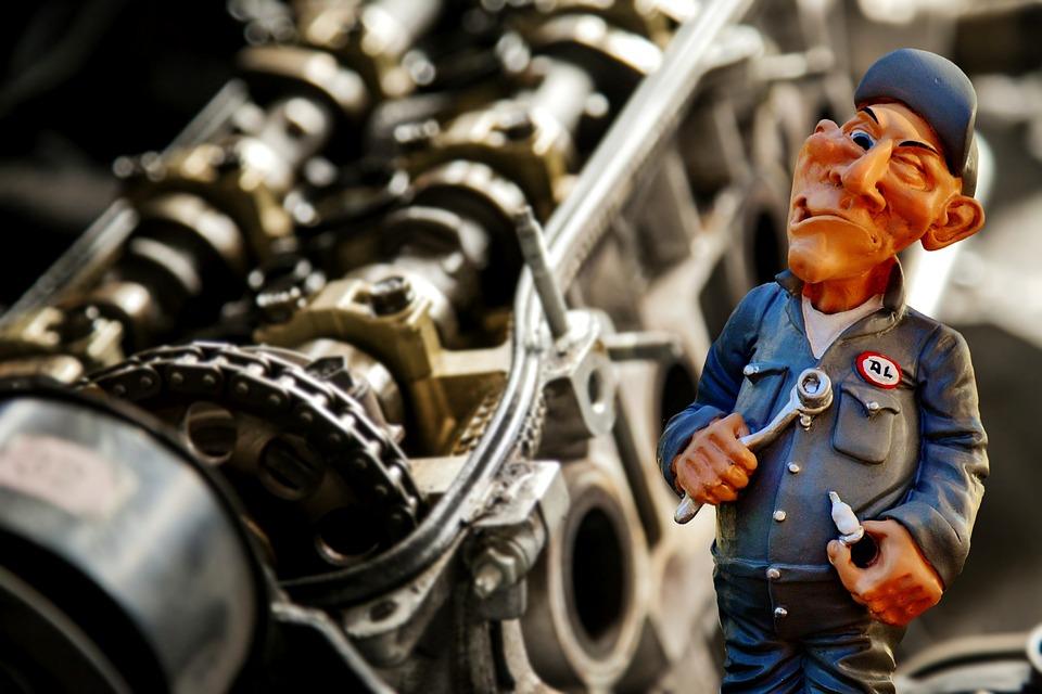 自動車整備士, メカニック, ワークショップ, 修理, 自動車修理, Pkw, 車両, レンチ, モーター