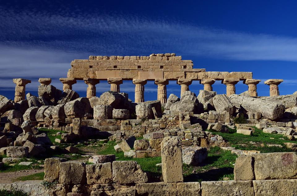 テンプル, ギリシャ語, 破滅, 興味の場所, 古代時, 古代, シチリア島, ギリシャ, 円柱状の