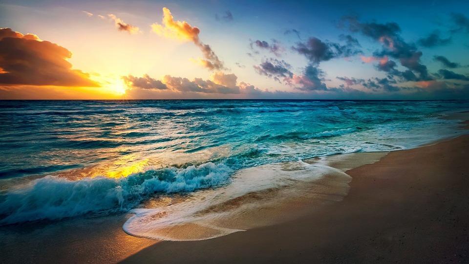 Playa, Sol, Velada, Tarde, Noche, Verano, Mar