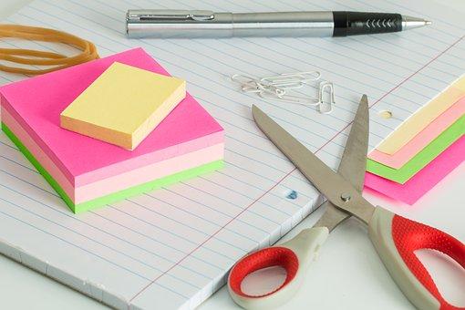 Post It Notes, Desk, Clutter, Scissors