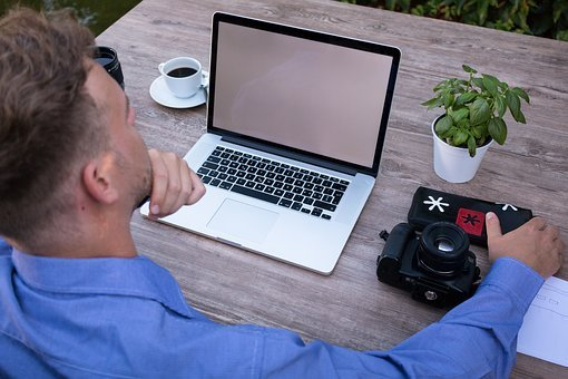 ホーム オフィス, スタッフ, 考え, ノート パソコン, 検討