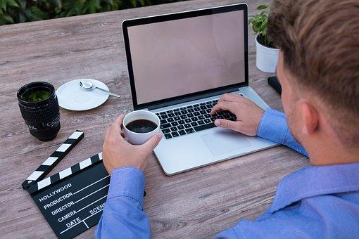 ノート パソコン, モックアップ, コーヒー ブレーク, Filmklappe