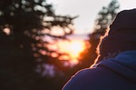 sunset, fur hat