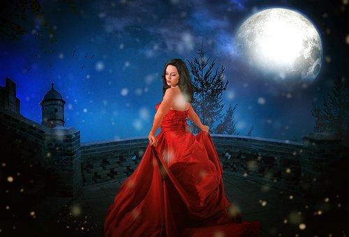Princess, Castle, Moon, Full Moon