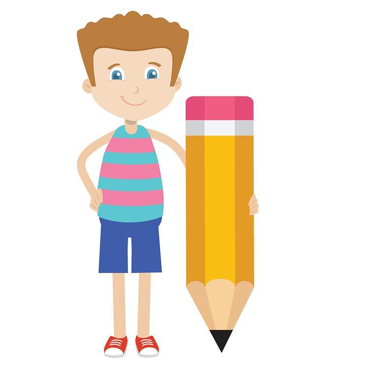 Crayon, Écrire, Garçon, École, Dessin Animé, Étude De