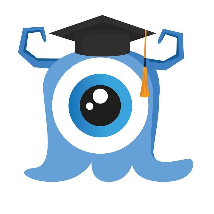 Graduación, Monstruo, Lindo, Niños, Dibujos Animados