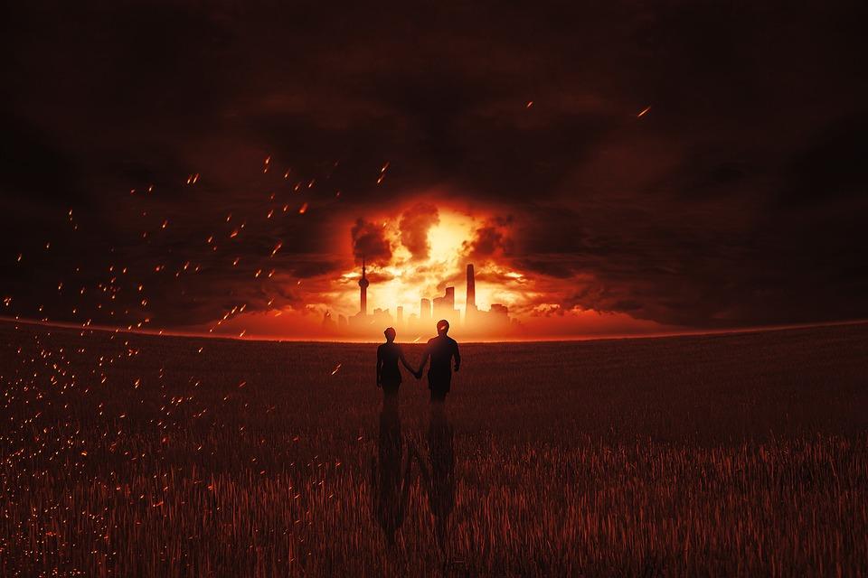 火, ブランド, 爆発, スカイライン, ペア, 人間, 個人, 災害, エスケープ, 保存, 煙, 喫煙者