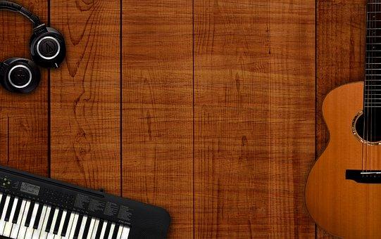 音楽の背景, 楽器表, バック グラウンド ミュージック, 木製の背景, 音楽
