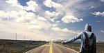 man, road