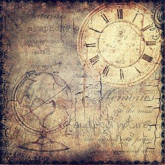 Grunge, Clock, Surreal, Time, Globe