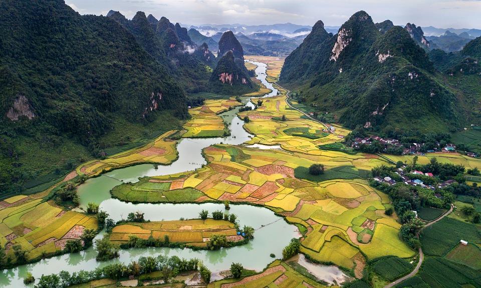 Vista, Panorama, Natura, Vietnam, Fiume, Campi