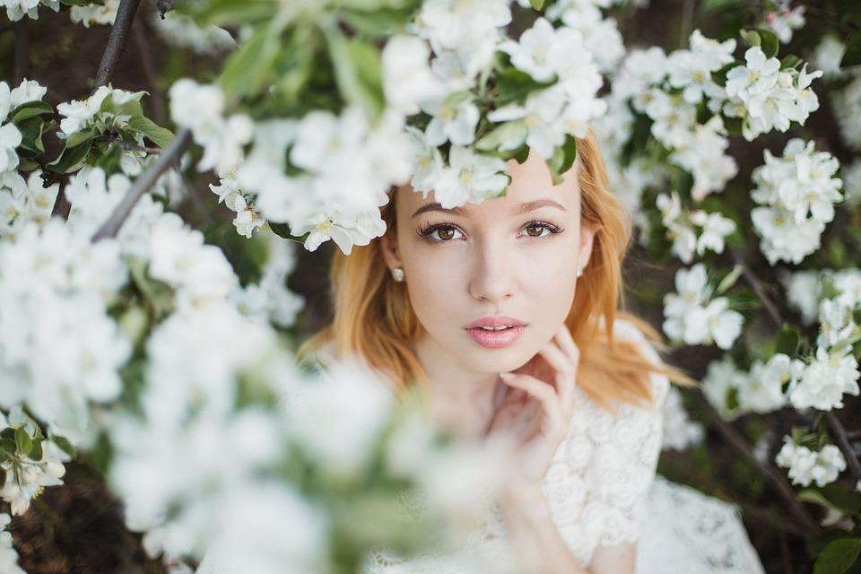美しい, 花, 女の子, 髪, 優しさ, 顔, ビュー, 春