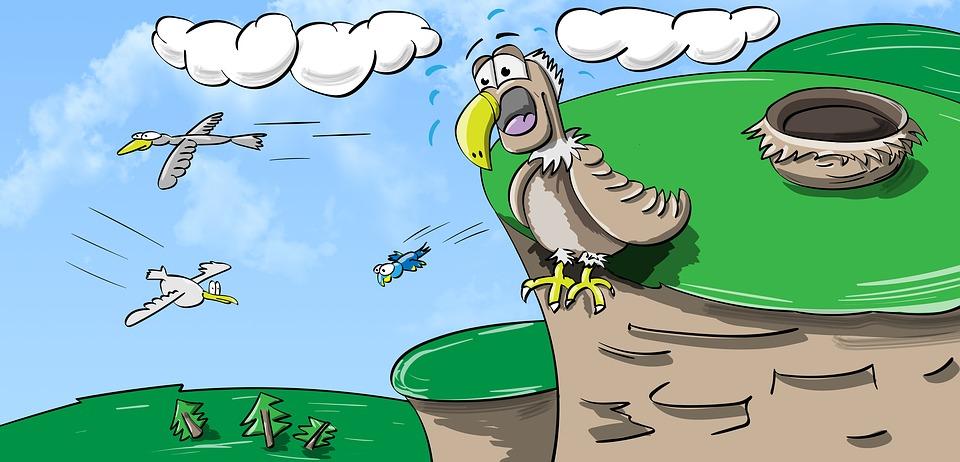 Vogels, Vliegen, Wolken, Berg, Hemel, Wees Jezelf