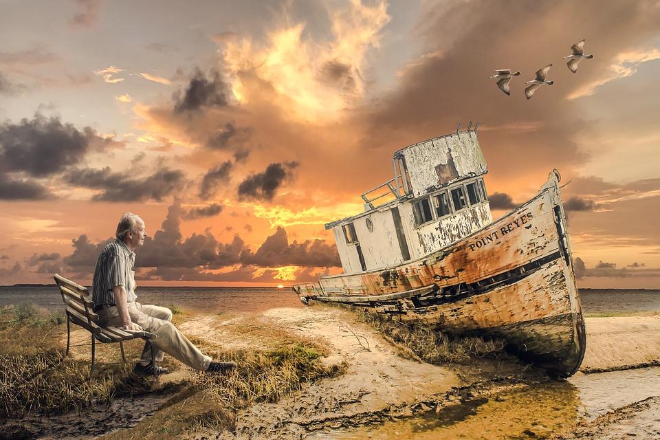 Старая Лодка, Старый Человек, Море, Лодка, Судно