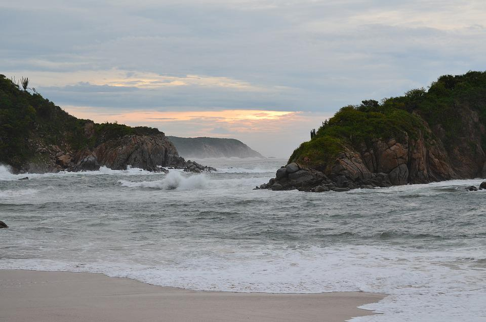 Mexico, Huatulco, Oaxaca, Mar, Bea, Playa, Paisaje