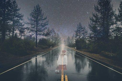 Ghost, Girl, Road, Night, Halloween