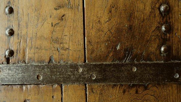 Wooden Door, Nailed, Old, Wood, Texture