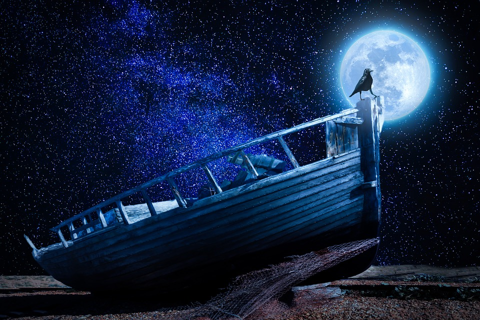 月光, ボート, 古いボート, 難破船, レイヴン, による添い寝, ペブルビーチ, 銀行, 船の難破船