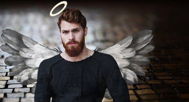 Man, Angel, Halo, Wing, Gut, Male