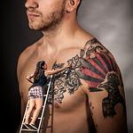 man, tattoo, upper body