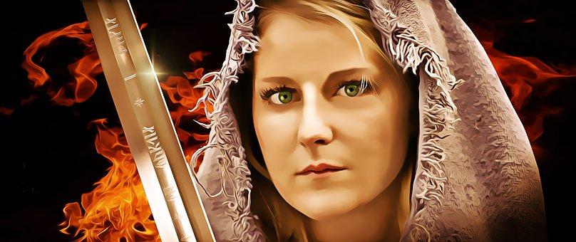 Woman, Female, Warrior, Hooded, Medieval