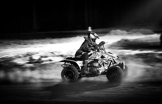 Black And White, Atv, Night Racing