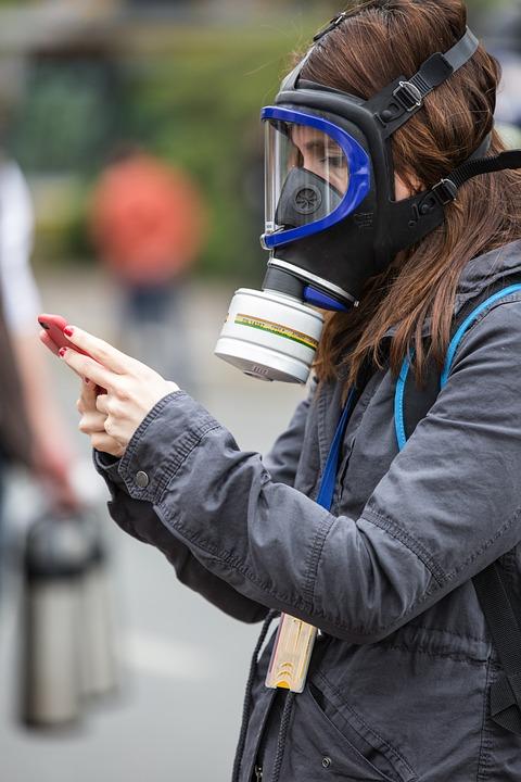 Gas Mask, Phone, Woman, Human, Press, Journalist