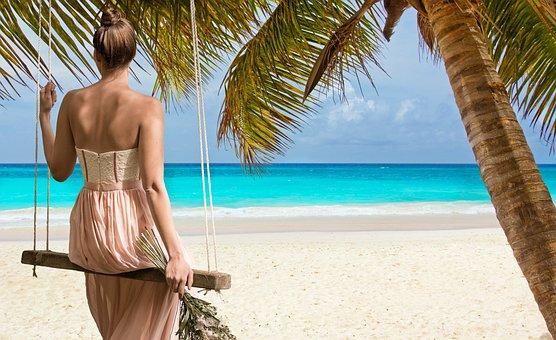 Pantai, Wanita, Laut, Ayunan Biru