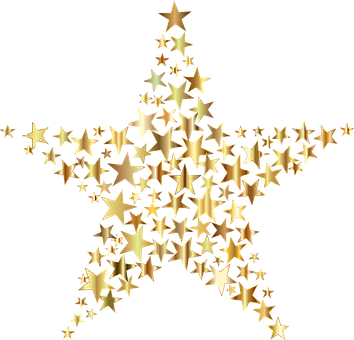 Star, Fractal, Gold, Shiny, Metallic